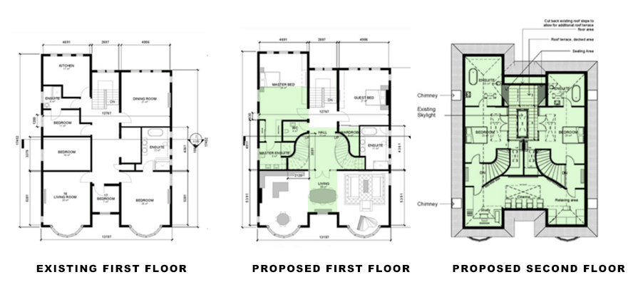 existing and proposed floor plans for Loft Conversion Specialist portfolio project