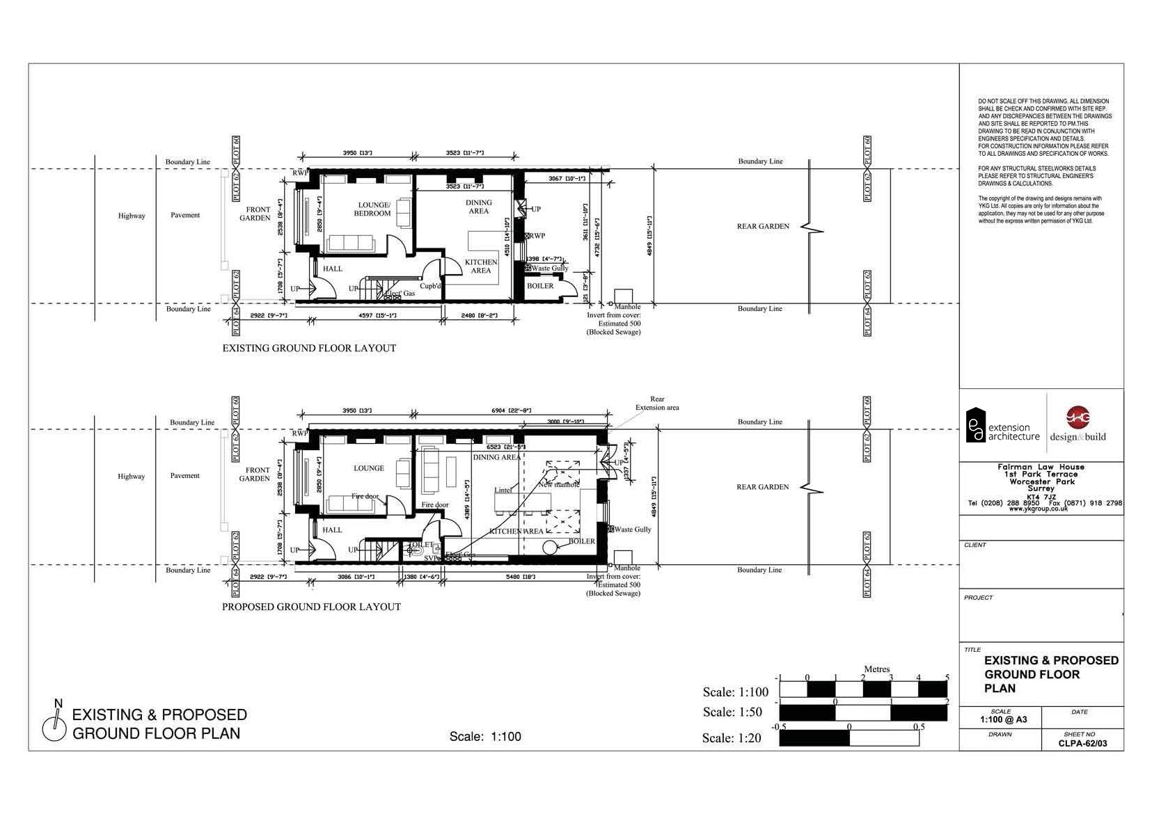 residentail single story rear drawings for planning in Durham
