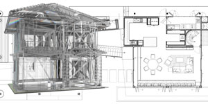 house model on blue print