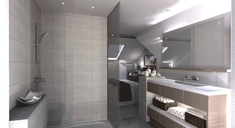 internal render for article on loft conversion with dormer and roof lights