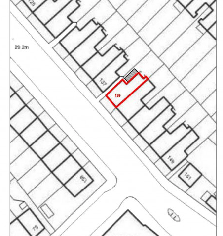 crop of block plan for basement and extension development