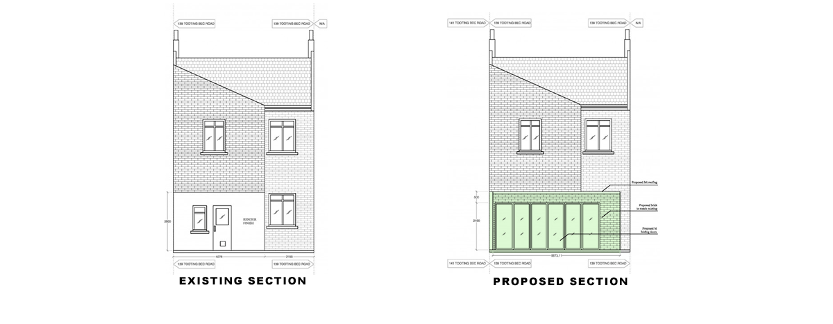 rear elevations for extension