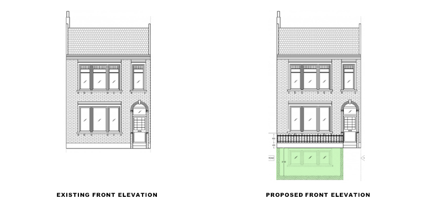 front elevations for portfolio article on Basement extension in Wandsworth