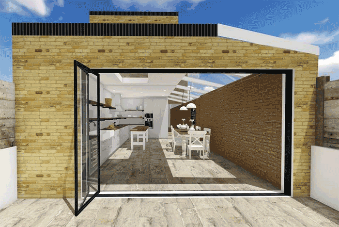 3D render of kitchen for article on single storey extension in Merton