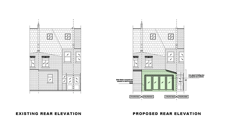 rear elevations for article on single storey extension in Merton