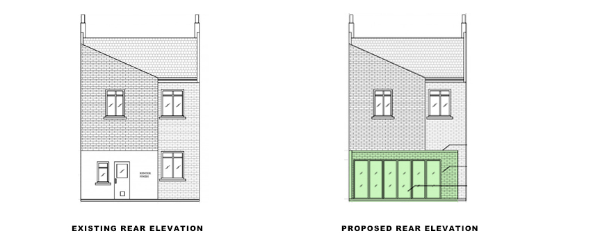 rear elevations for portfolio article on Basement extension in Wandsworth