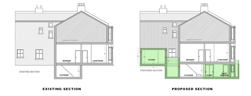 sections for portfolio article on Basement extension in Wandsworth