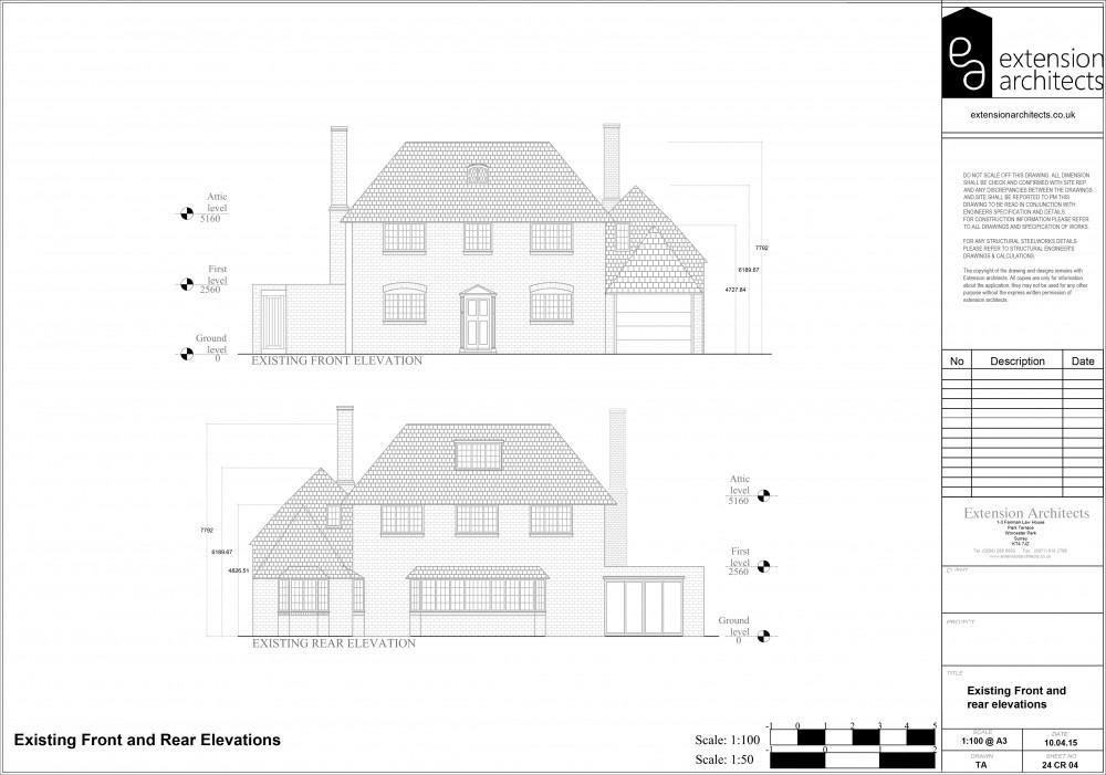 24CR04 Existing front and rear elevations