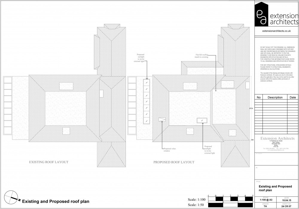 24CR07 Existing and proposed roof plan