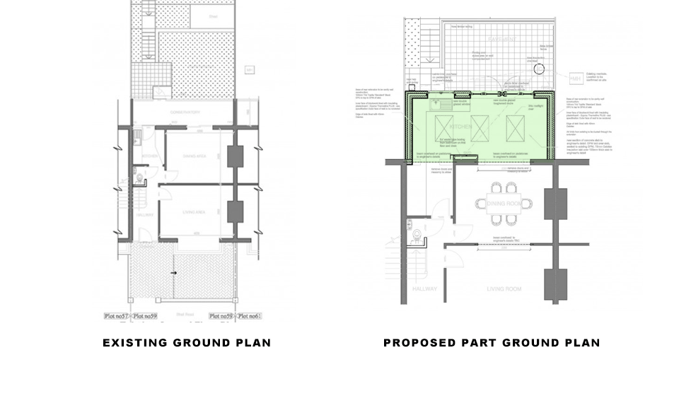 drawings showing existing and proposed plans for single storey rear extension