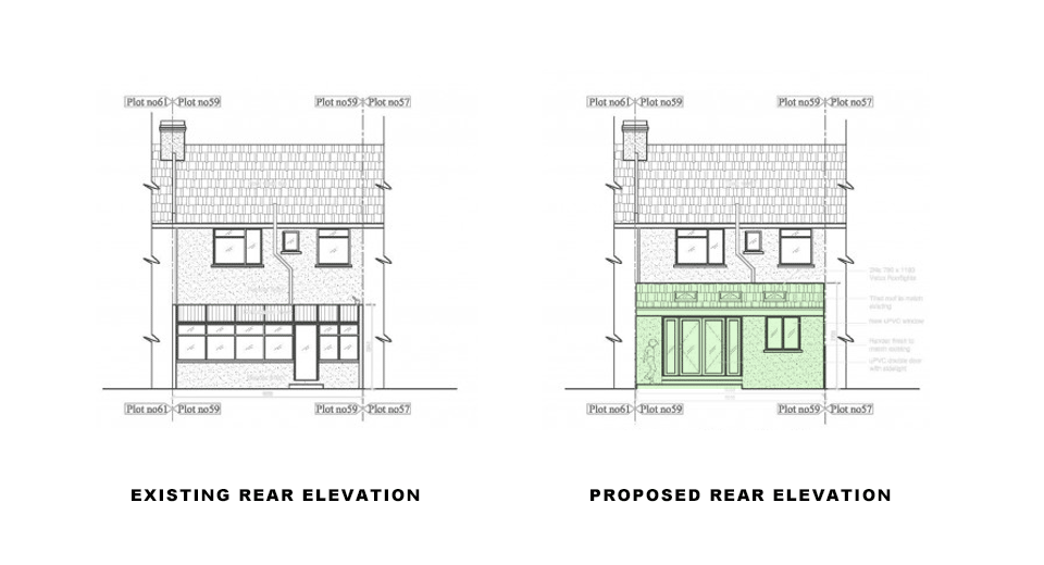 drawings showing existing and proposed rear elevations for single storey rear extension