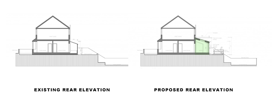 drawings showing existing and proposed sections for single storey rear extension