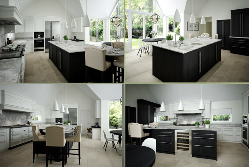 4 photos of German kitchen for portfolio project on single storey extension planning