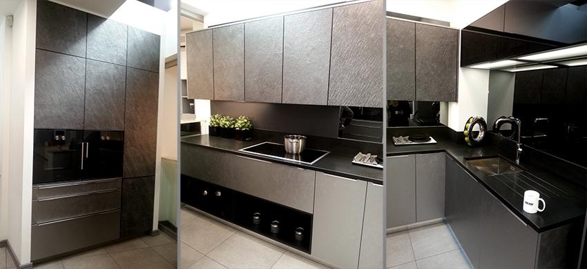 3 photos of black stone German kitchen for portfolio project on single storey extension planning