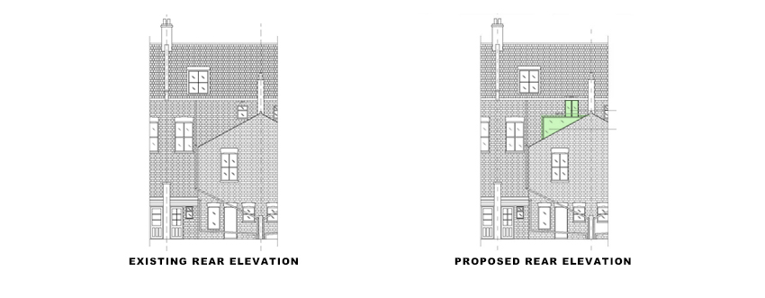 rear-elevations for Loft Conversion and Roof Terrace portfolio article