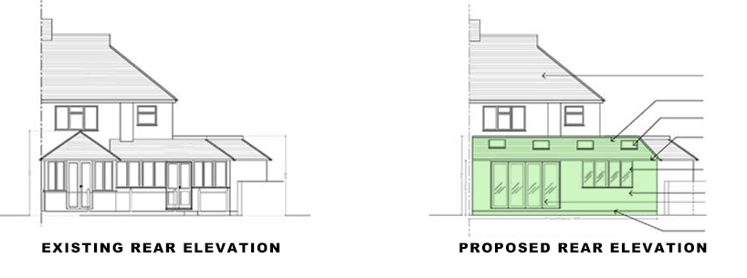rear elevations for portfolio project on single storey extension planning