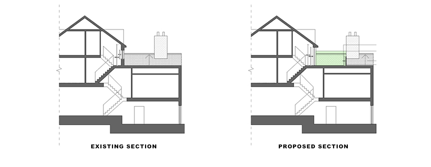 sections for Loft Conversion and Roof Terrace portfolio article