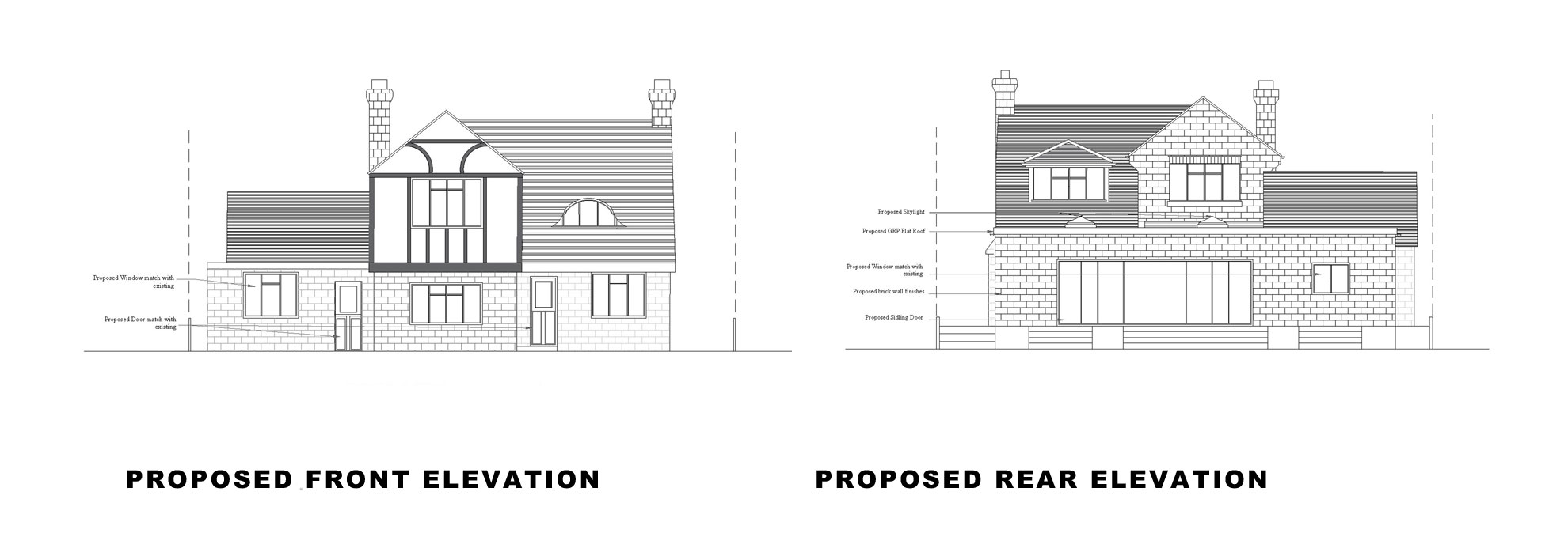Single-storey-extension-and-garage-conversion-in-Kingston-Front-and-Rear-Elevation