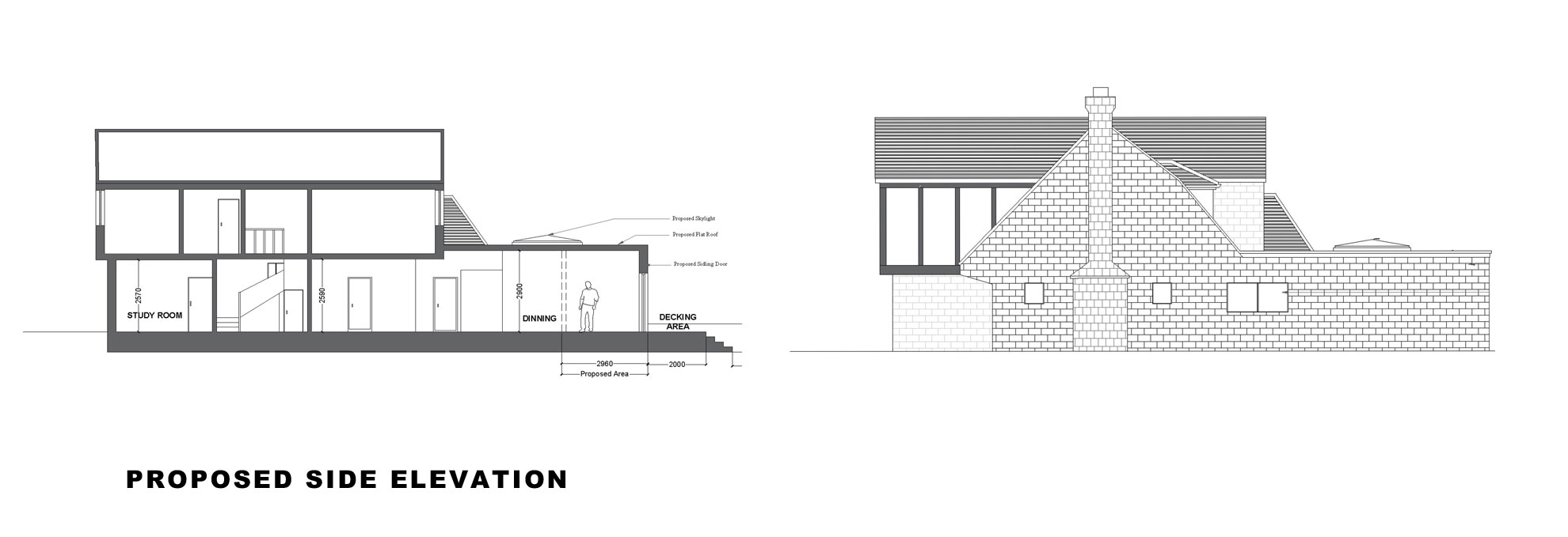 Single-storey-extension-and-garage-conversion-in-Kingston-Side-Elevation