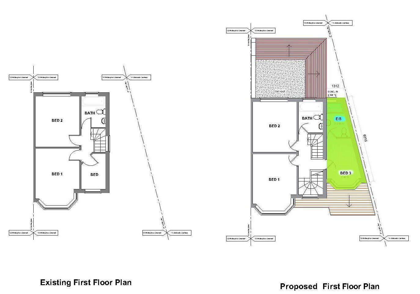 Double storey extension loft conversion in new malden for Extension floor plans