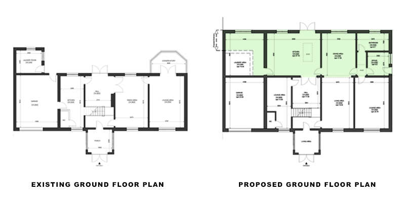 ground floor plans for portfolio article on Extension in Waltham Forest