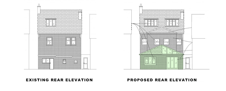 rear elevations for single storey rear extension in croydon