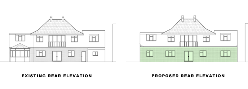 rear elevations for portfolio article on Extension in Waltham Forest