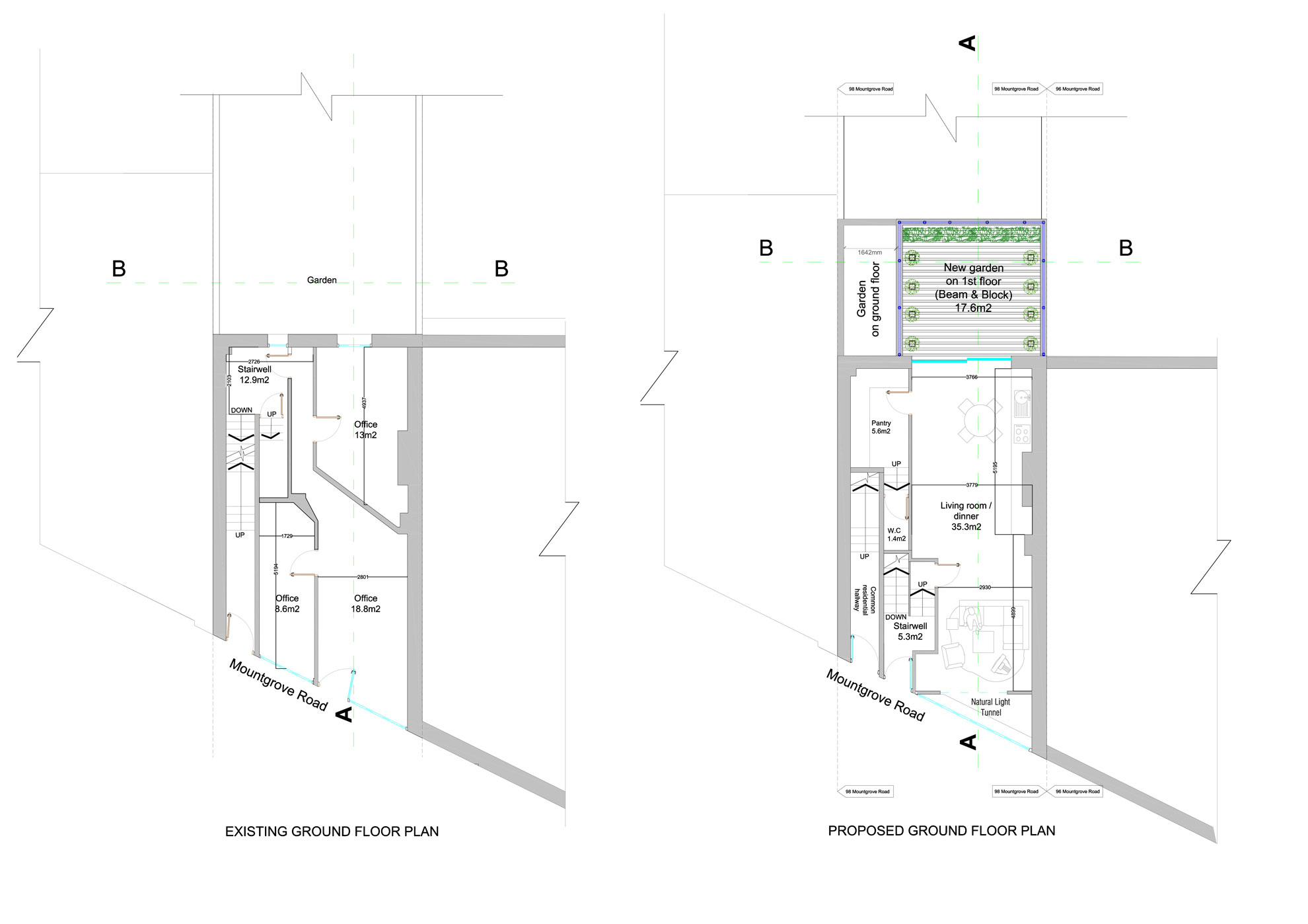 Basement-Extension-in-Islington-Ground-Floor-Plan