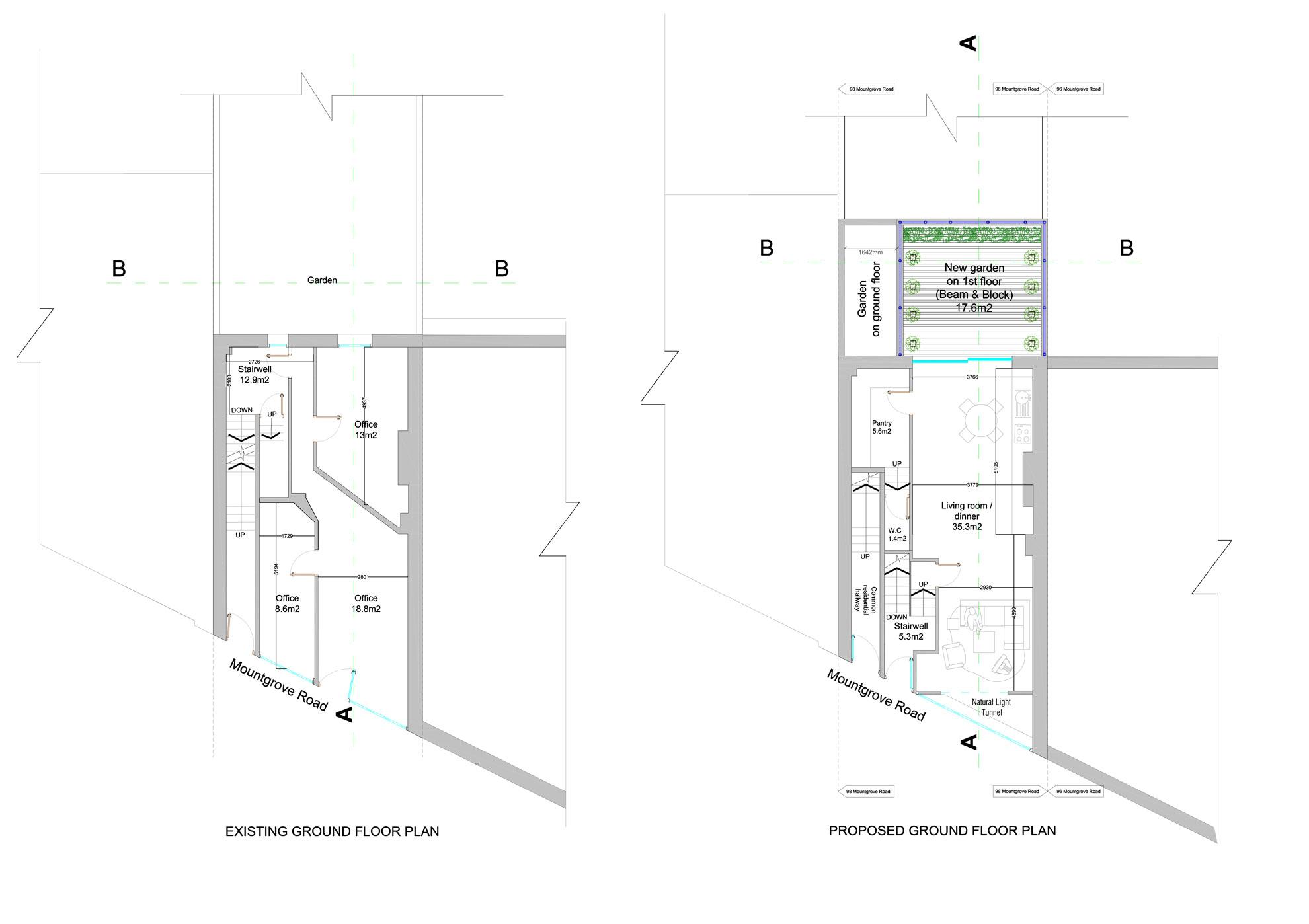 Basement-Extension-in-Islington-Ground-Floor-Plan