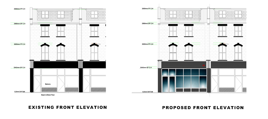 front elevations for portfolio project on Basement Extension in Islington