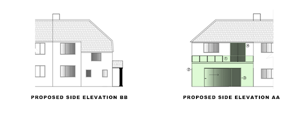 side elevations for article on Roof Terrace & Garage conversion in Croydon