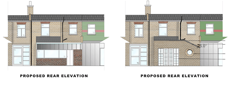 rear elevations for article on Rear Extension in Waltham Forest