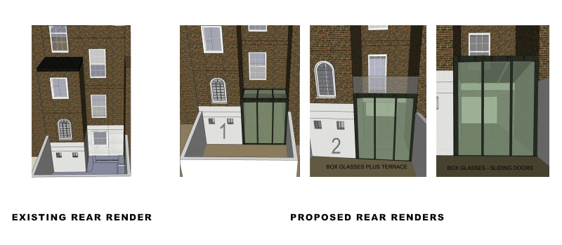 rear renders for portfolio article on listed building in Chelsea