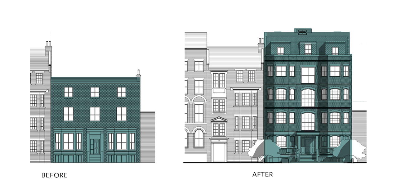 Front Elevation Before And After : New build in clapham lambeth council extension