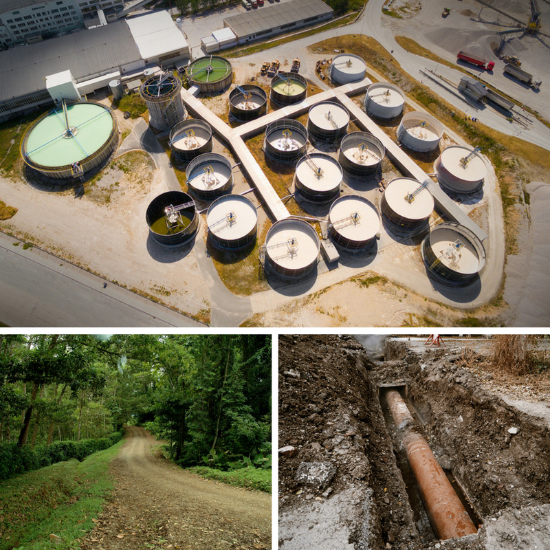 Image of location-specific things architects and designers should check on their site visit. Image contains an access road, underground pipes and soil quality and water treatment plant, all of which may affect an architects plans.