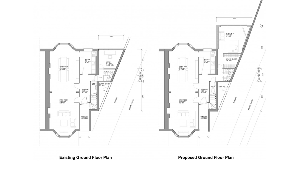 Plans and Elevations for Double Storey Extension in Hammersmith and Fulham