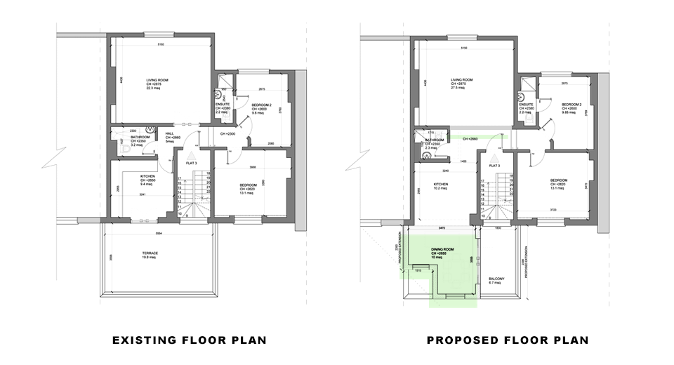 floor plans for article on double storey rear extension in islington