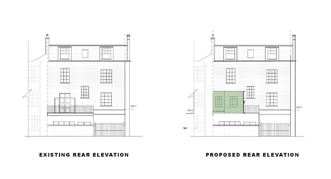 additional storey rear elevation for article on double storey rear extension in islington