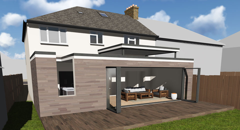 Single Storey Rear Extension On Semi Detached House In Worcester Park