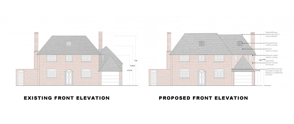 Surrey-Esher-Single-Storey-Extension-Existing-and-Proposed-Front-Elevation