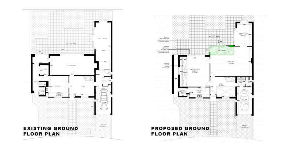 Surrey-Esher-Single-Storey-Extension-Existing-and-Proposed-Ground-Floor-Plan