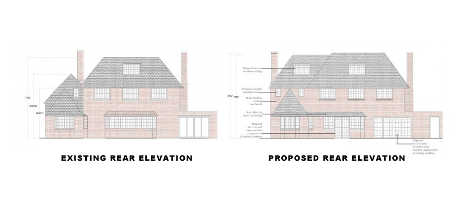 Surrey-Esher-Single-Storey-Extension-Existing-and-Proposed-Rear-Elevation