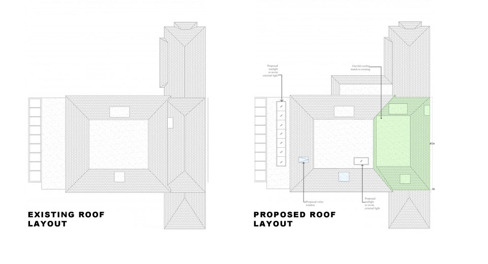 Surrey-Esher-Single-Storey-Extension-Existing-and-Proposed-Roof-Layout