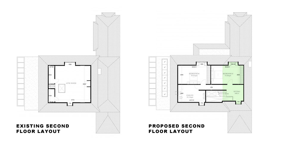 Surrey-Esher-Single-Storey-Extension-Existing-and-Proposed-Second-Floor-Layout