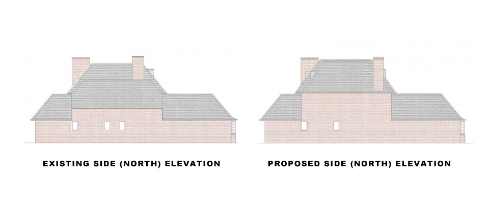 Surrey-Esher-Single-Storey-Extension-Existing-and-Proposed-Side-Elevation-North