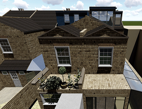 roof view for article on double storey extension
