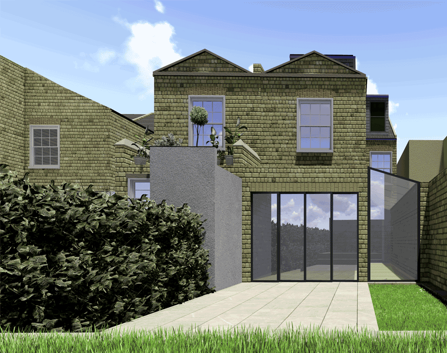 rear view for article on double storey extension