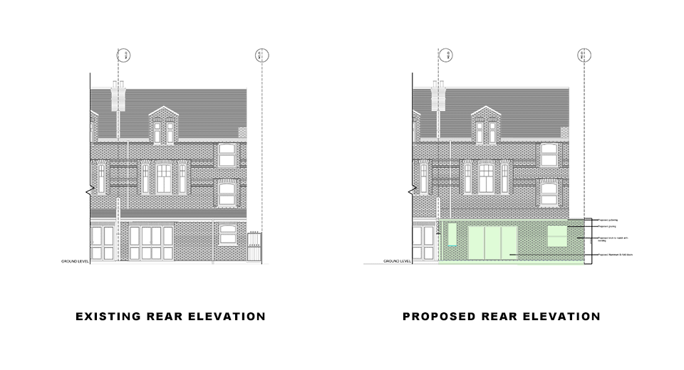 rear elevations for portfolio article on first class extension
