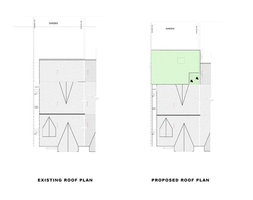 drawings of existing and proposed roof plans for article on first class extension