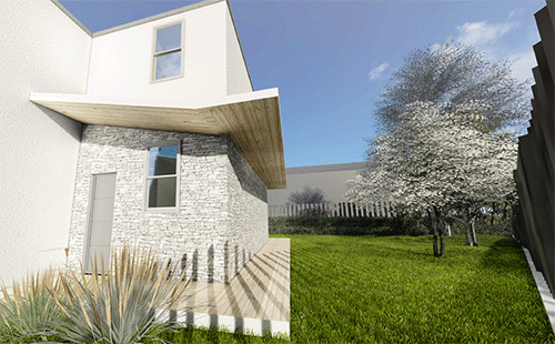 3D render of exterior on article for new build